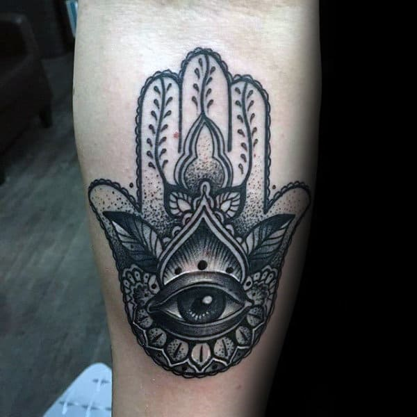 Inner Forearm Tatoo Of Hamsa Hand Mens Shaded Black Grey And White Ink Design Ideas