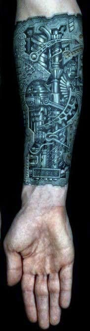 Inner Forearm Tattoo For Men Of Extremely Detailed Intricate Steampunk Design