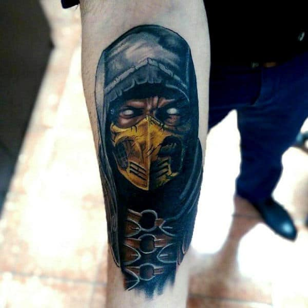 Inner Forearm Tattoo Of Mortal Kombat Character Scorpion For Men