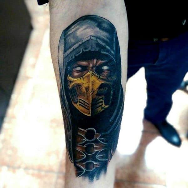 Inner Forearm Tattoo Of Mortal Kombat Character Scorpion For Men