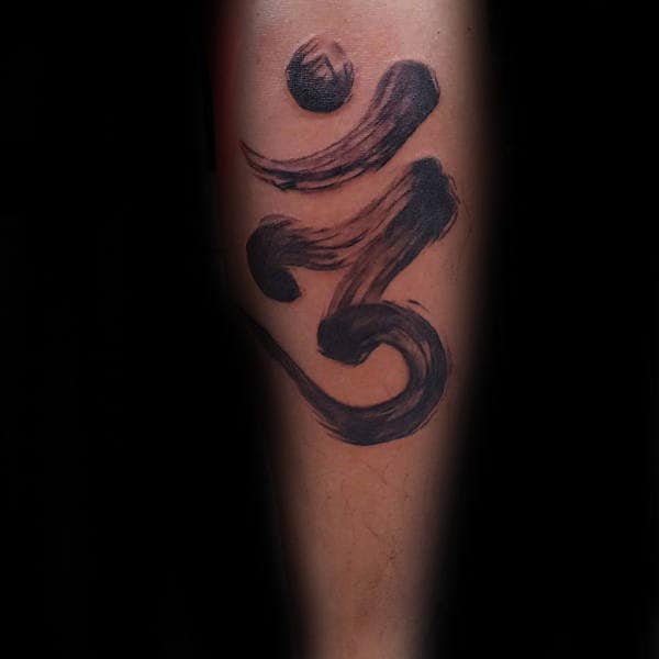 Inner Forearm Tattoo On Male Of Brush Stroke Om Design