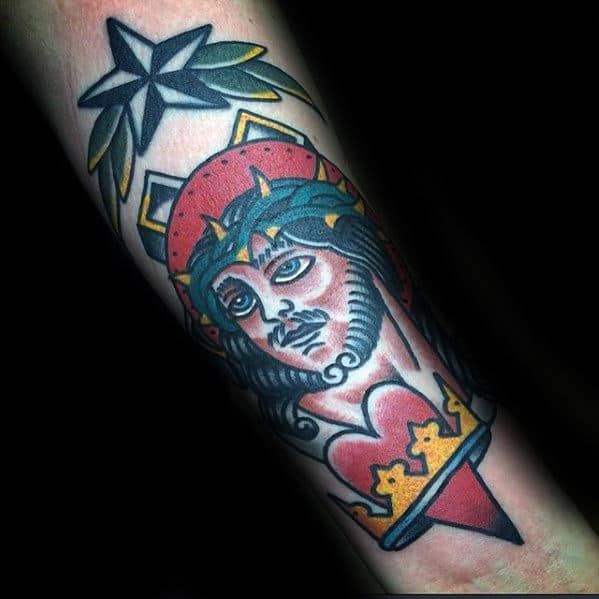 Inner Forearm Traditional Jesus Heart With Crown Tattoo For Men