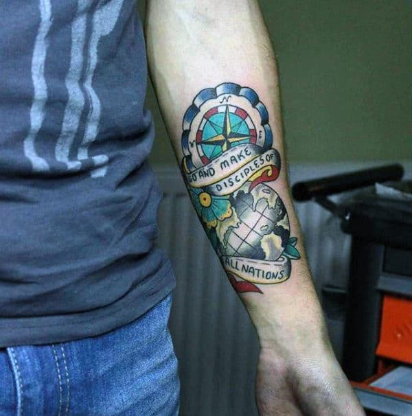40 Traditional Compass Tattoo Designs For Men - Old School ...