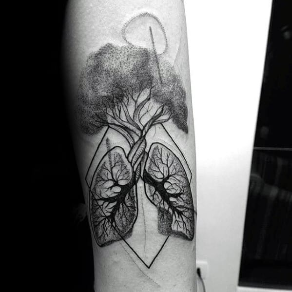 Inner Forearm Tree Geometric Lung Tattoo Designs For Guys