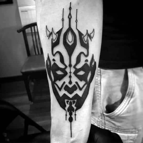 Inner Forearm Tribal Awesome Darth Maul Tattoos For Men