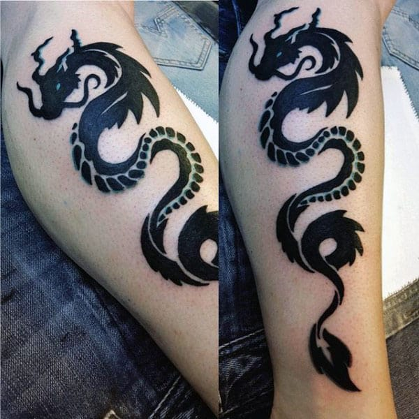 60 tribal dragon tattoo designs for men mythological ink for Tribal tattoos for men forearm