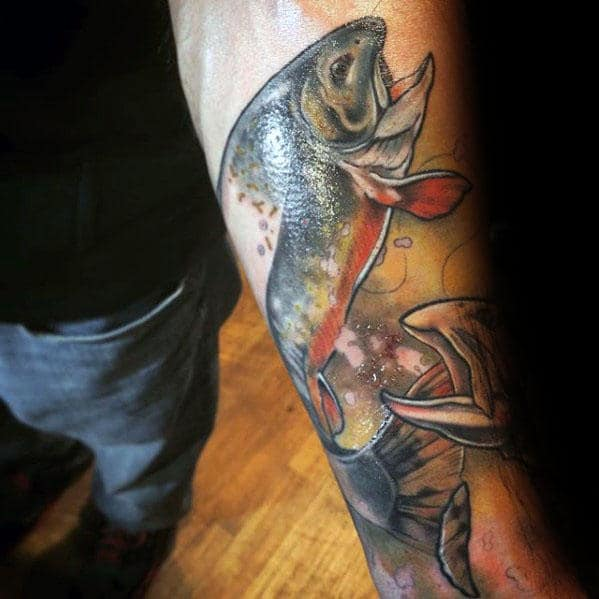 Inner Forearm Trout Fish Guys Tattoos