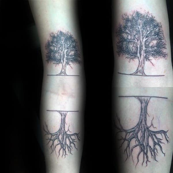 Inner Forearm Two Trees With Roots Mens Tattoo Designs