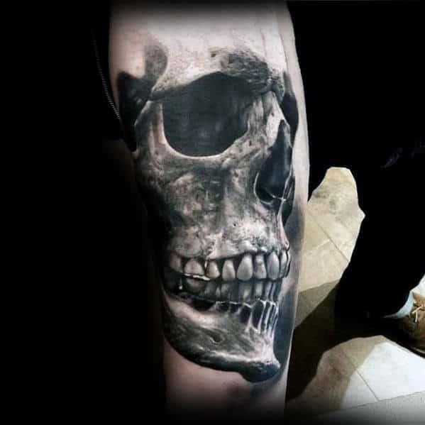 Inner Forearm Ultra Realistic 3d Mens Skull Tattoos