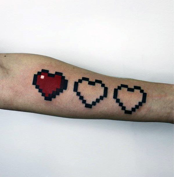 Inner Forearm Video Game Hearts Pixel Guys Tattoos
