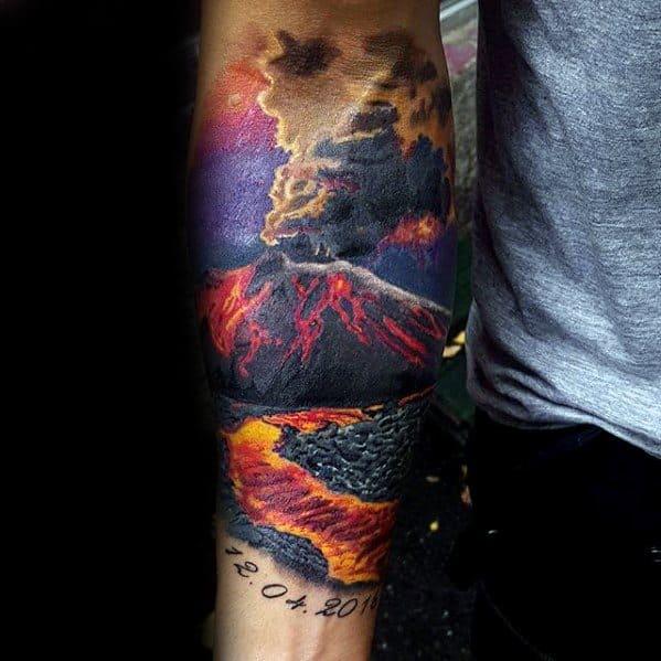 Inner Forearm Volcano Tattoos Guys