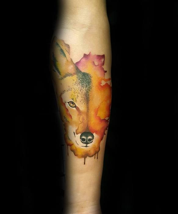 Inner Forearm Watercolor Coyote Guys Tattoo Designs