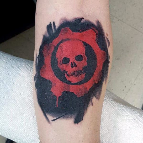 Inner Forearm Watercolor Guys Gears Of War Black And Red Ink Tattoos