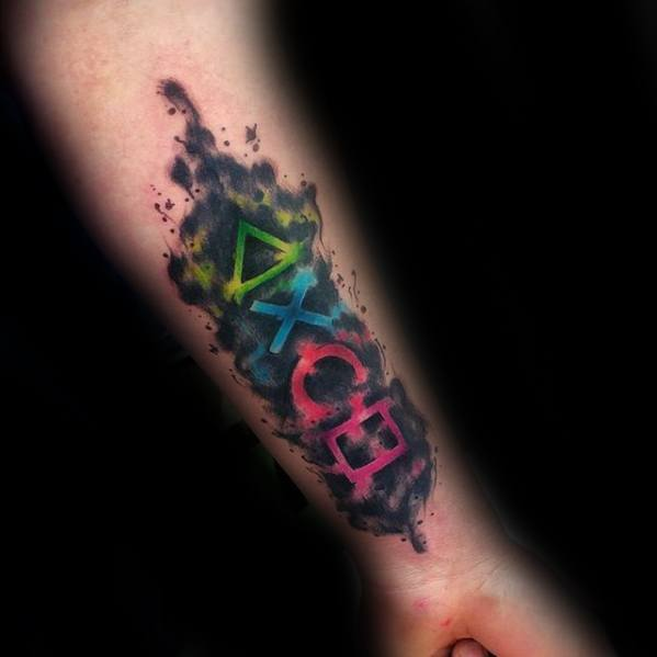 Inner Forearm Watercolor Mens Tattoo Ideas With Playstation Design