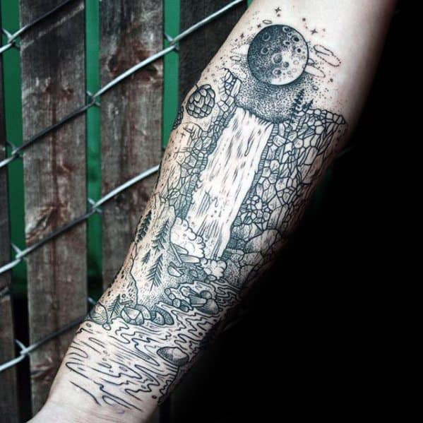 Inner Forearm Waterfall Incredible River Tattoos For Men