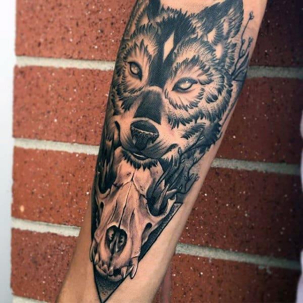 Inner Forearm Wolf Skull Male Tattoo Ideas