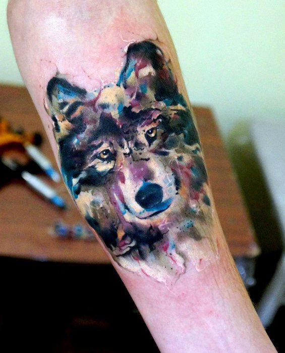 Inner Forearm Wolf Watercolor Mens Tattoo Designs