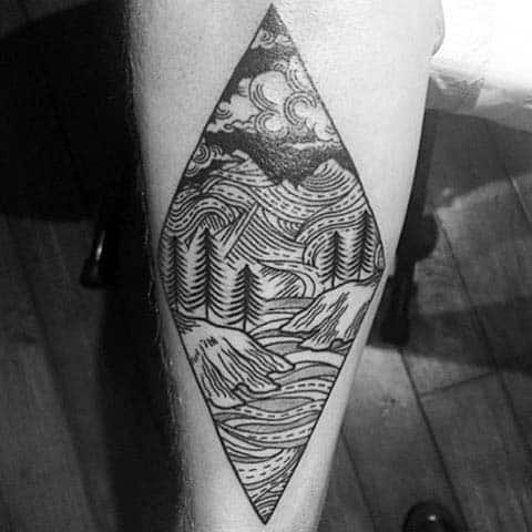 Inner Forearm Woodcut Forest Male Tatoto Ideas