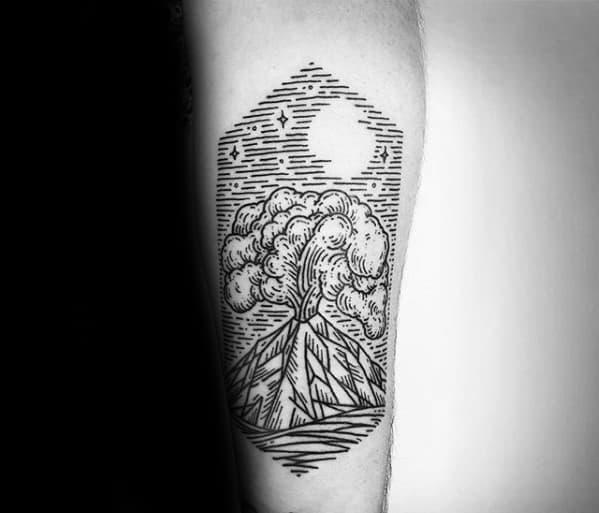 Inner Forearm Woodcut Masculine Volcano Tattoos For Men