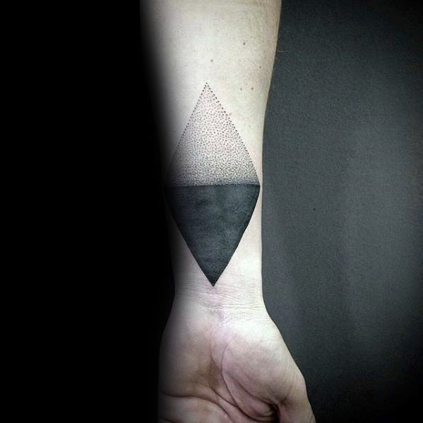 Inner Forearm Wrist Male Cover Up Geometric Solid Black Ink Tattoos