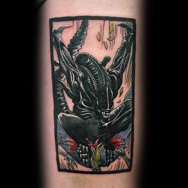 Inner Forearm Xenomorph Tattoos Men