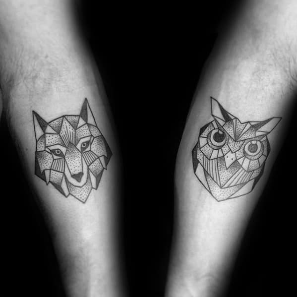 Inner Forearms Fox And Owl Mens Geometric Tattoos