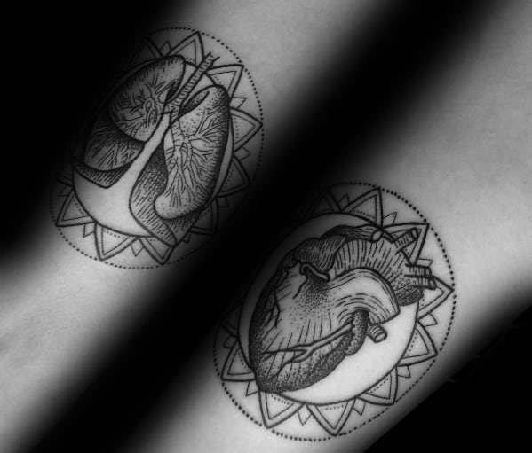 Inner Forearms Geometric Lung Tattoos For Gentlemen