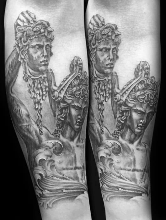 Inner Forearms Perseus Mens Tattoo Designs