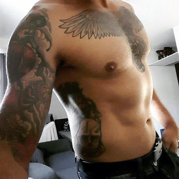 Inner Men's Bicep Tattoo Designs