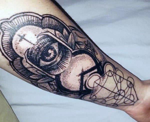 Inner Wrist Geometric Sacred Geometry Line Tattoos For Guys