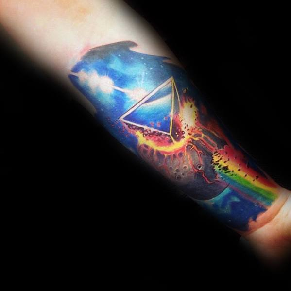 Innner Forearm Outer Space Dark Side Of The Moon Male Tattoo Designs