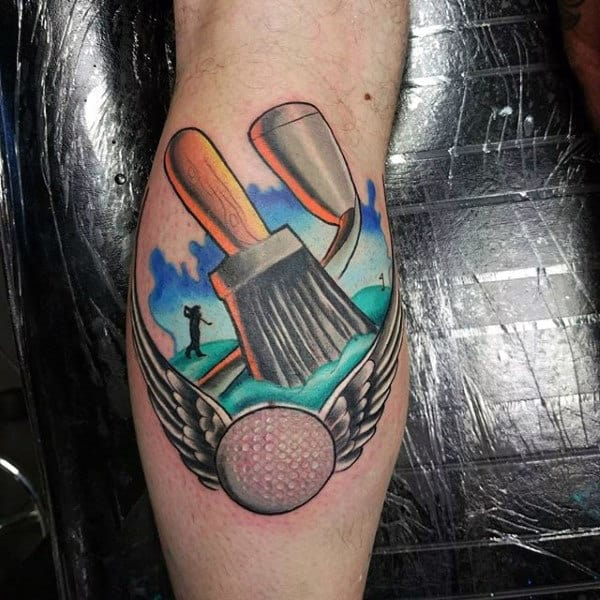 Innovative Paint Brush And Golfball Tattoo Male Forearms