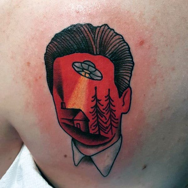 Innovative Ufo Sketched In Red Mans Face Tattoo Guys Back