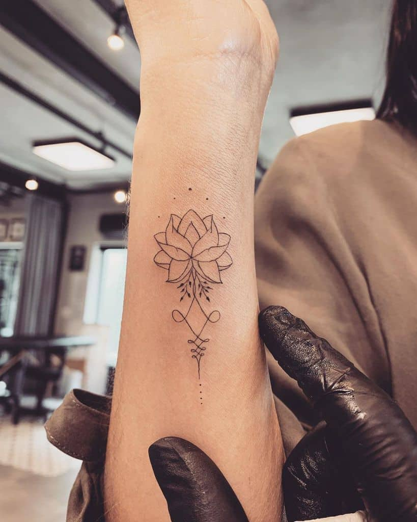 Inpired Line Unalome Tattoo