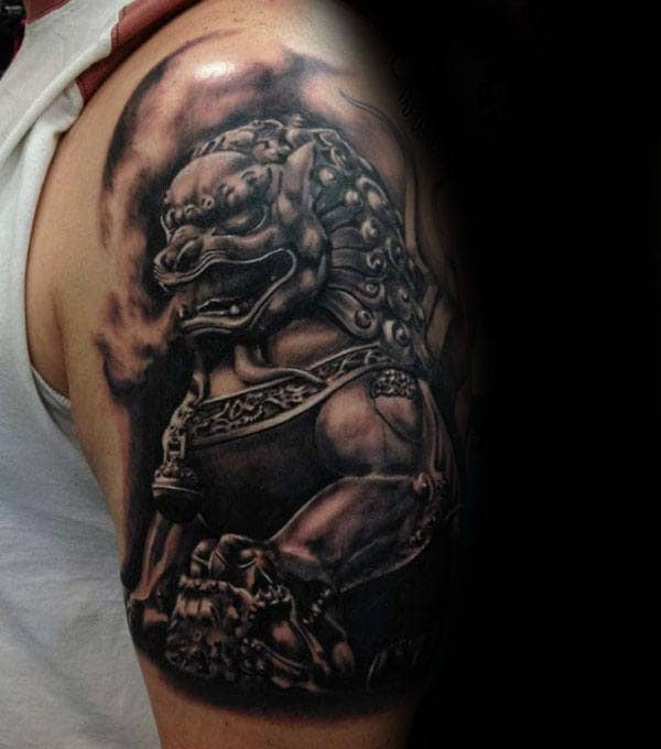Insane Guys Foo Dog Half Sleeve Tattoo