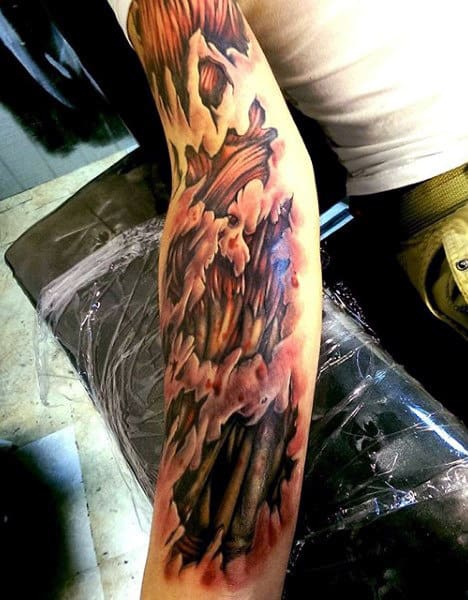 Insane Guys Full Arm Muscle Tattoo