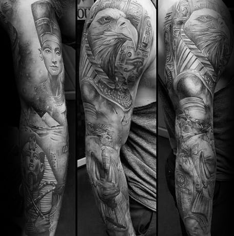 Insane Guys King Tut Full Sleeve Tattoo