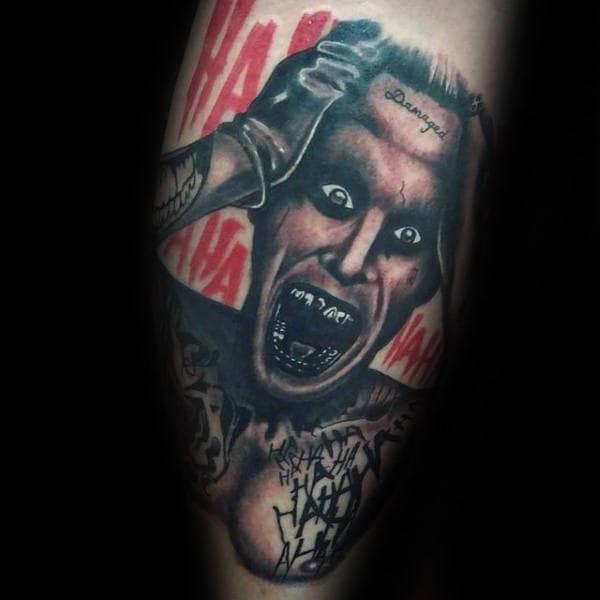 Insane Joker Mens Leg Tattoos