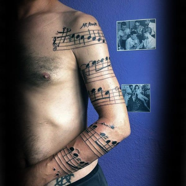 Insane Musical Note Full Sleeve Mens Tattoo