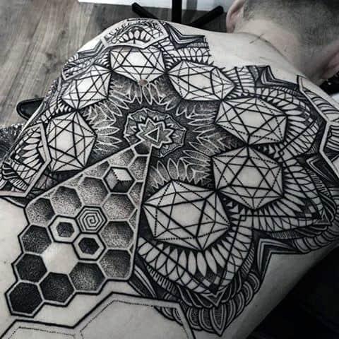 Insane Pointillism Mens Black Ink Back Tattoos