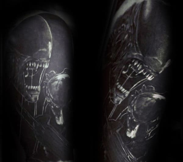 Insane Predator Realistic Mens Dark Black And White Ink Half Sleeve Tattoos