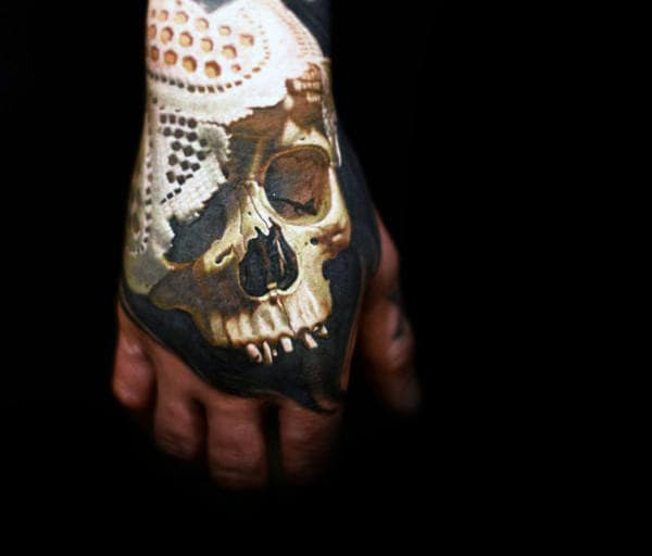 Insane Skull Mens Hand Tattoo With Realistic 3d Design