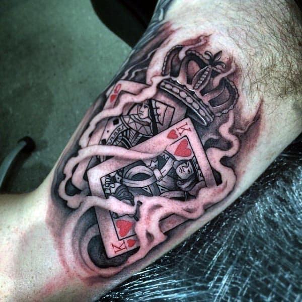 Cards Inside Bicep Tattoo For Men