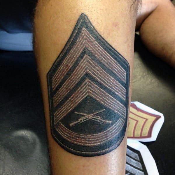 Insigna Mens Marine Patch Rank Tattoo On Leg