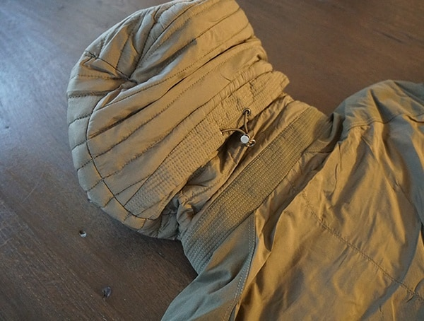 Insulated Mens Kuhl Wildkard Hybrid Jacket Back Of Hood With Pull String Adjustment