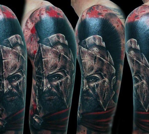 Intense Aztec Warrior With Mettalic Neck Piece Tattoo Guys Sleeves