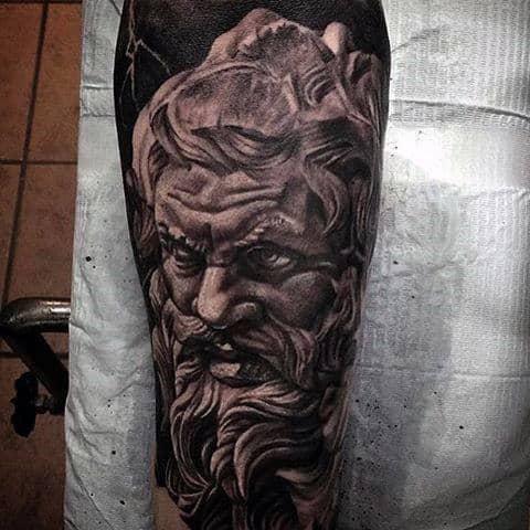 Intense Greek God Face Tattoo For Men On Arm