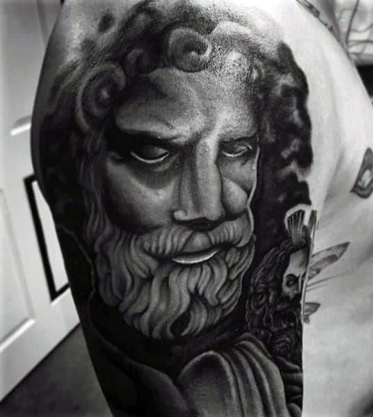 Intense Greek Myth God Tattoo On Arms For Men