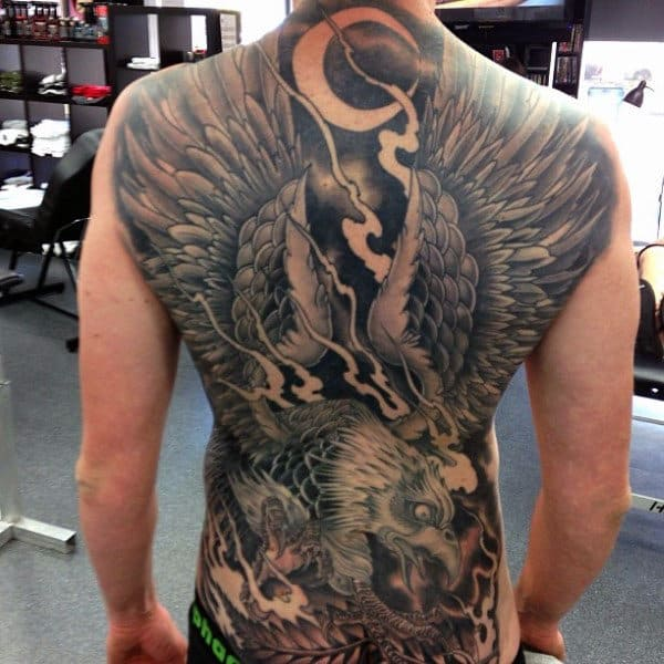 Interesting And Magnificent Eagle With Large Wings Tattoo Male Full Back