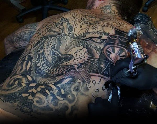 Interesting Black Pattern Tattoo Male Back